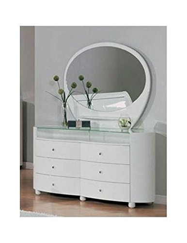 Cute and Unique 2-piece White Dresser with Oval Mirror
