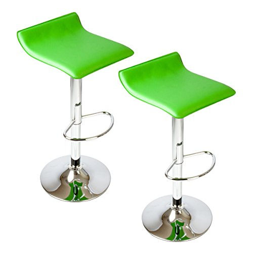 PU Leather Swivel Hydraulic Bar Stool, Set of 2 (Green)