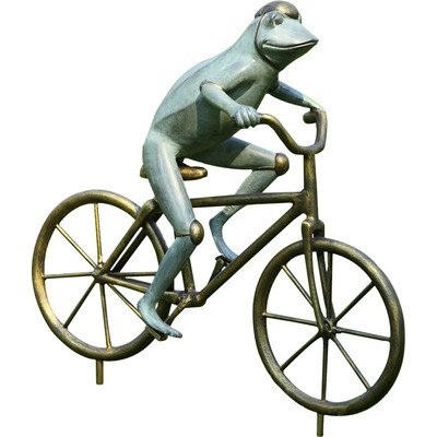 Cute Frog on Bicycle Garden Statue