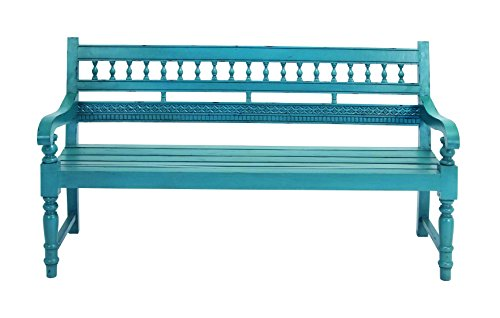 Beautiful Turquoise Wooden Bench