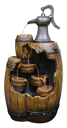 Old Fashion Pump Pouring Barrel Fountain