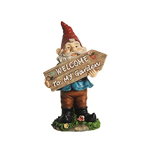 "Bobble Gnome Holding ""Welcome To My Garden"" Sign"