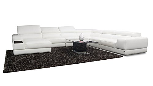 Stunning WHITE Leather Sectional Sofa with Adjustable Headrests