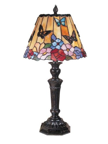 Beautiful Dale Tiffany Butterfly and Peony Tiffany Table Lamp