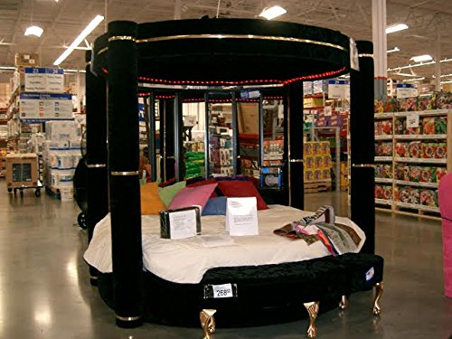 Black Velvet Round 4 Post Canopy Bed King with Mirror