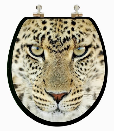 3D Multi-Images Lion, Leopard, Tiger Round Wood Toilet Seat