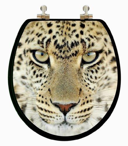 3D Multi-Images Lion, Leopard, Tiger Round Wood Toilet Seat