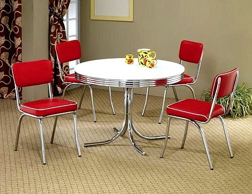 Cute Retro Style Dining Room Table and Chair Set