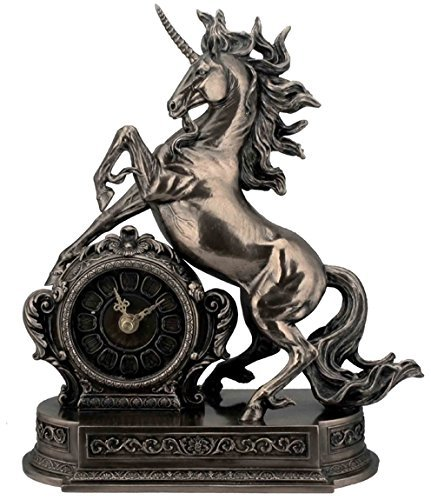 Unicorn Cold Cast Bronze Figurine Clock