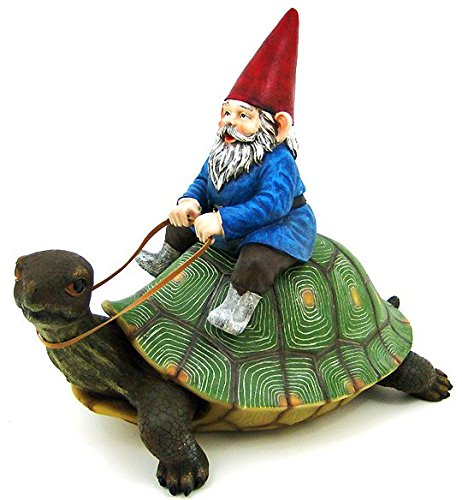 Large Garden Gnome Riding Turtle Statue