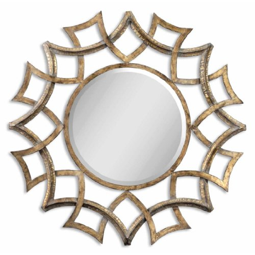 Antiqued Gold Metal Decorative Wall Mirror