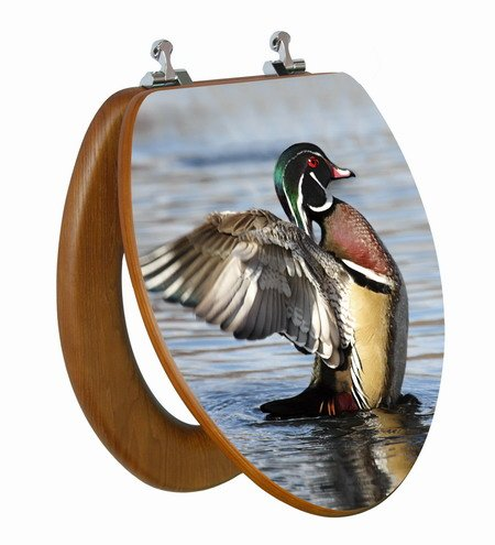 3D Wood Duck Elongated Toilet Seat