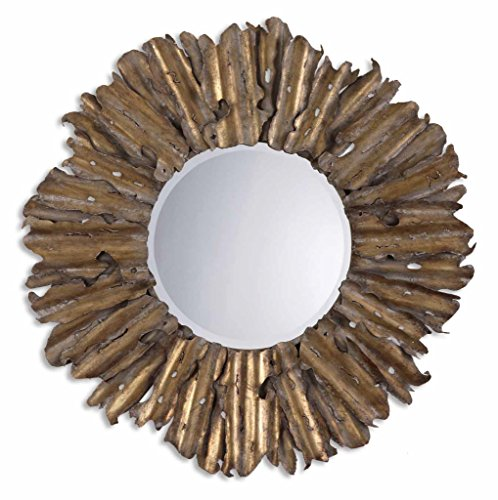 Large Gold Leaf Sunburst Wall Mirror