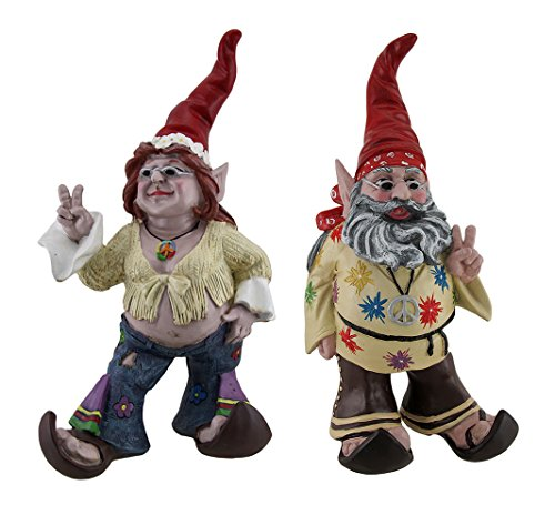 Pair of Hippie Garden Gnomes
