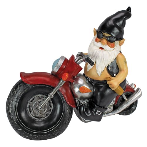 Cute Biker Gnome Statue