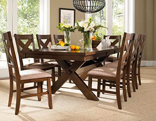 Wooden 9 Piece Dining Set in Dark Hazelnut Finish