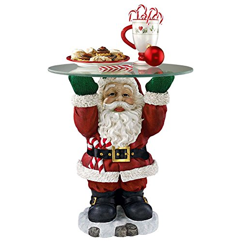 Fun Santa Claus Sculptural Glass-Topped Holiday Table