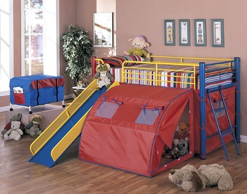 Fun Bunk Bed with Slide and Tent