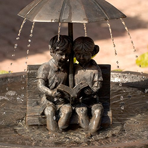 Boy and Girl Reading on a Bench Solar Fountain