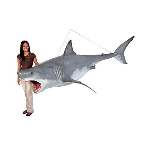 Life Size Great White Shark Hanging Sculpture