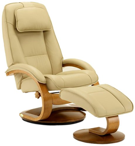 Top Grain Leather Recliner with Ottoman