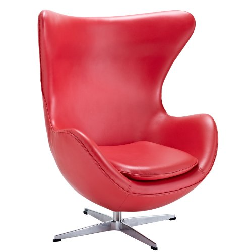 Arne Jacobson Style Egg Chair in Red Italian Leather
