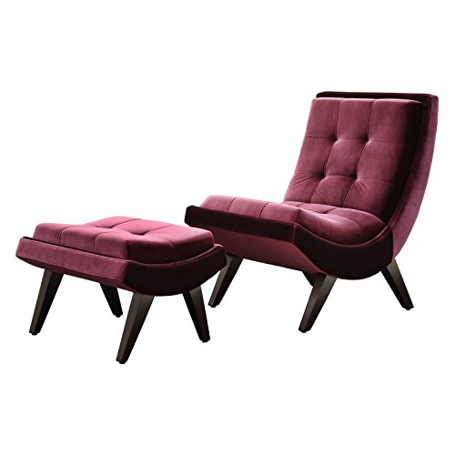 Rich Purple Velvet Lounge Chair & Ottoman