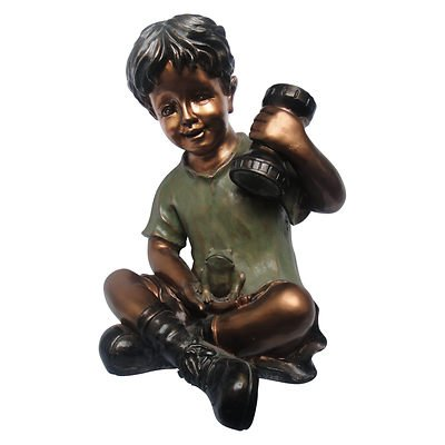 Boy with Solar Flashlight Garden Statue