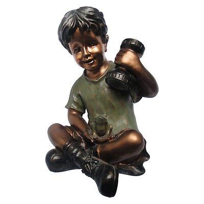 Boy with Solar Flashlight Garden Statue