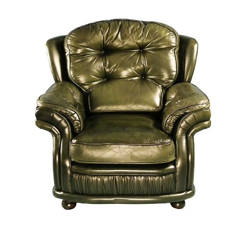 Vintage Green Leather Arm Chair