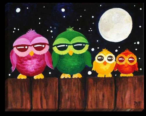 Owls on Fence at Night Illuminated Wall Art