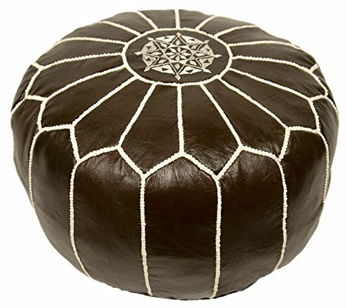 Moroccan Embroidered Leather Pouf