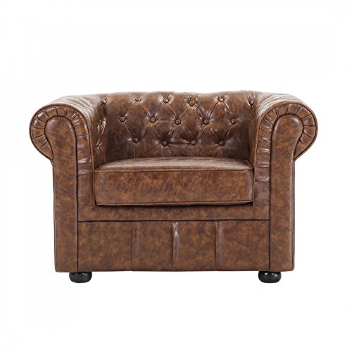 Genuine Leather Tufted Armchair
