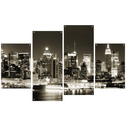 Manhattan New York at Night Wall Decor