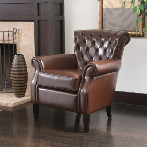 Elegant Brown Tufted Leather Retro Club Chair