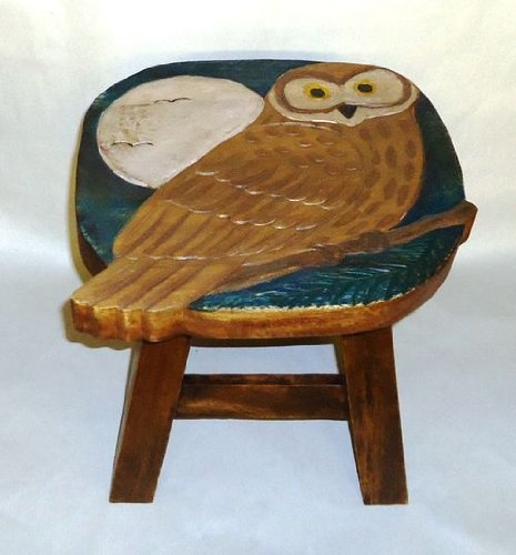 Owl Hand Carved Wooden Foot Stool