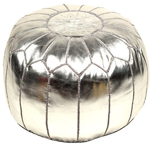 Silver Moroccan Embroidered Pouf