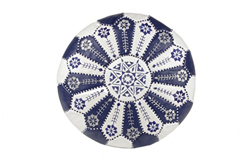 Moroccan Embroidered Starburst Stitched Cotton Stuffed Leather Pouf