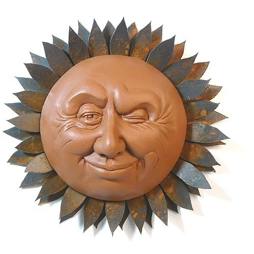Winking Sun Face Outdoor Wall Sculpture