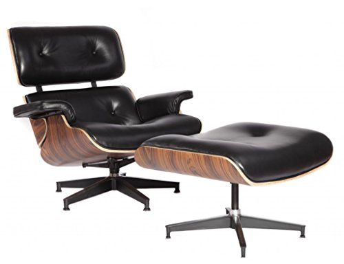 Eames Style Lounge Chair with Ottoman Stool