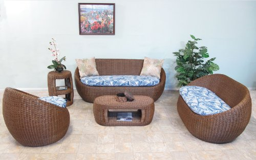 Wicker Living Room Furniture 5PC Sofa Set
