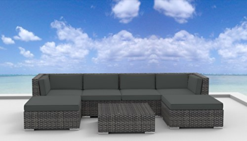 7 Piece Modern Patio Furniture Sofa Sectional Couch Set
