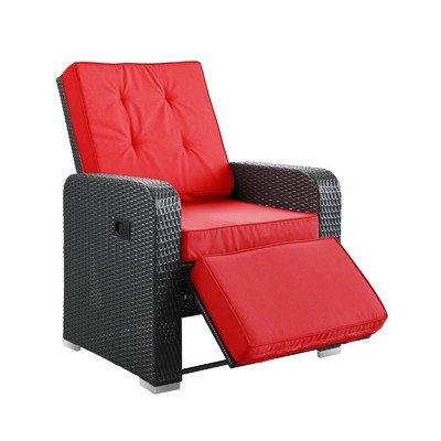 Patio Armchair Recliner, Espresso Red