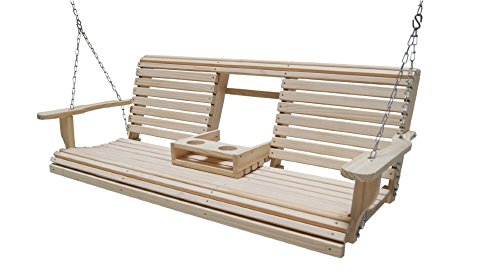 Affordable Cypress Wood Porch Swing with Cup Holders