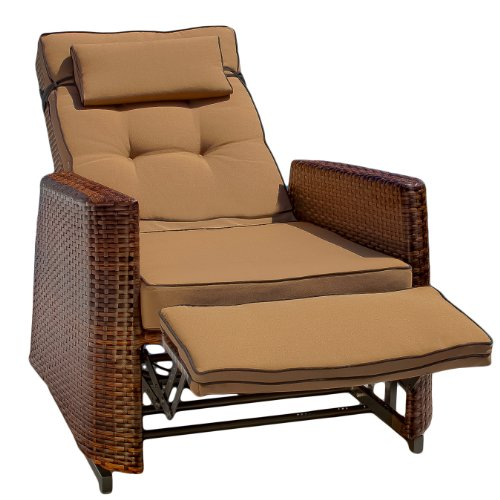 Outdoor Wicker Reclining Lounge Chair Set