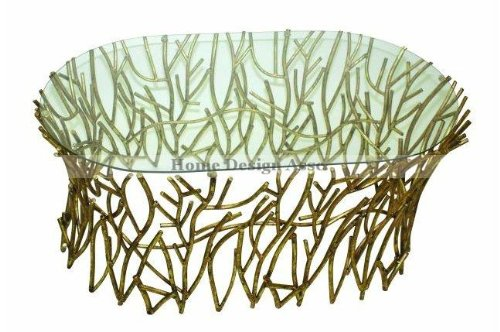 Oval Glass Top IRON TWIG Elm Coffee Cocktail Table