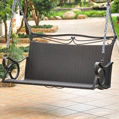 Resin Wicker Patio Loveseat Porch Swing