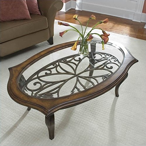 Cute Oval Cocktail Table in Brown Sugar Finish