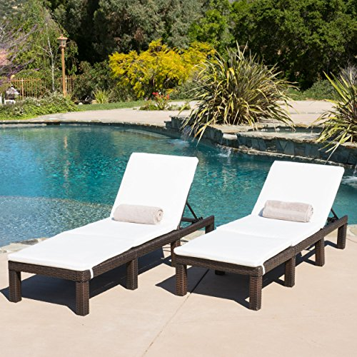 Outdoor PE Wicker Adjustable Chaise Lounge Chairs w/ Cushions
