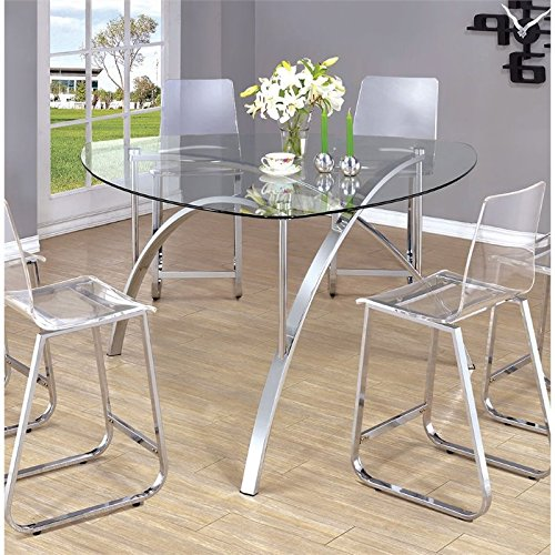 Transparent Glass Top Round Dining Table